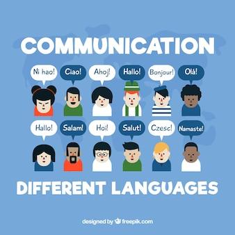 さまざまな言語のスピーチバブルを持つ人々