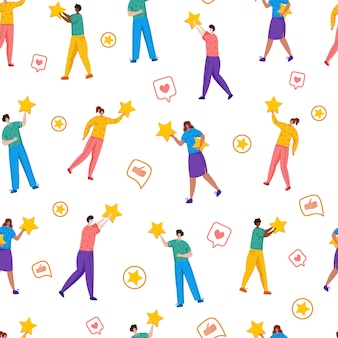 People with stars - client feedback or review seamles pattern, online service evaluation, happy customers