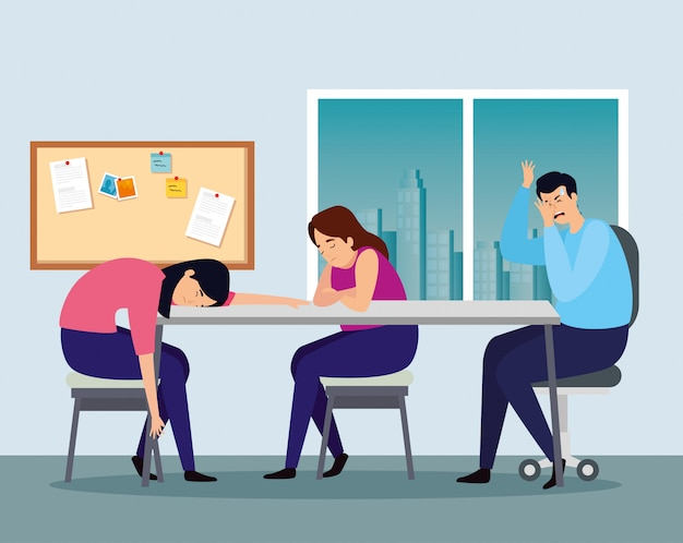 People with stress attack at workplace