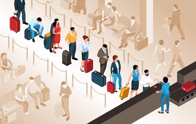 공항 아이소메트릭에서 대기열에 서 있는 가방을 가진 사람들