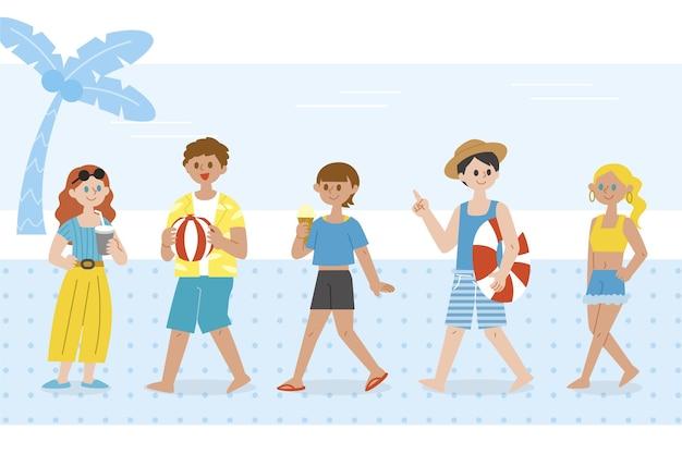 Люди с набором летней одежды