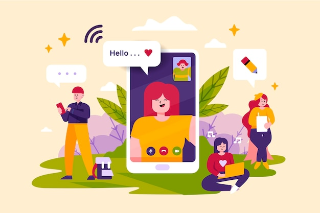 People with technology devices concept