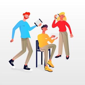 Люди с технологическими устройствами иллюстрации набор