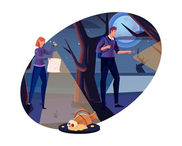 Люди с факелами и картой собираются на охоту за сокровищами в лесу, плоская векторная иллюстрация