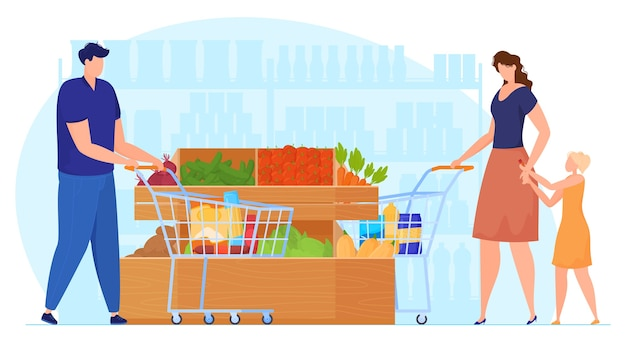 People with trolleys in vegetable department in supermarket, woman with baby in supermarket, man shopping. vector illustration