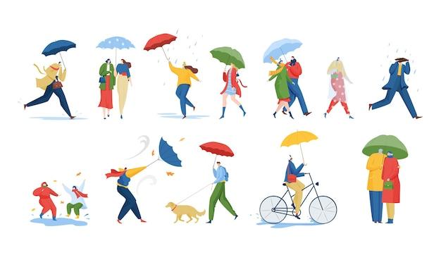 People with umbrella under rain storm wind illustration set