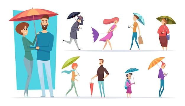 우산을 가진 사람들. 비가 오는 날 성인 남성과 여성이 우산을 들고 손 벡터 캐릭터를 걷고 있습니다. 삽화 남자 보호 비옷, 사람들 호우