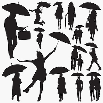 People with umbrella silhouettes