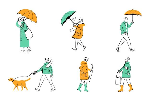 Набор плоских контурных иллюстраций людей с зонтиками