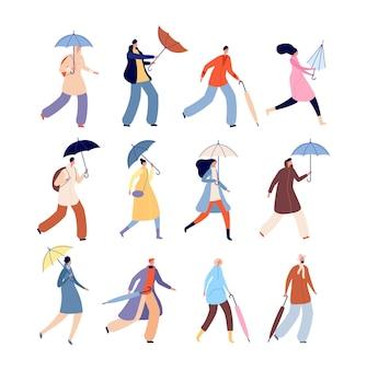 우산을 든 사람들. 비오는 가을, 도시 거리 젖은 사람 캐릭터. 비오는 날 벡터 일러스트 레이 션에 고립 된 남자 여자 야외 산책. 우산이나 파라솔을 손에 들고 있는 사람들