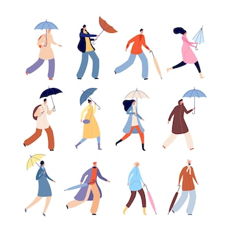 People with umbrellas. rainy autumn, city street wet person character. isolated man woman outdoor walking in raining day vector illustration. people with umbrella or parasol holding in hand