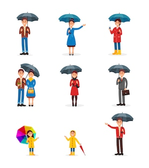 People with umbrellas set, man, woman and kids walking under umbrella  illustration on a white background