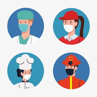 制服とコロナウイルスの労働者のテーマイラストのworkermasksを持つ人々