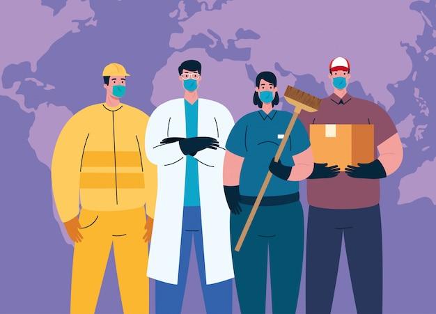 Люди с униформой рабочих масок и карта мира работников coronavirus тема иллюстрации