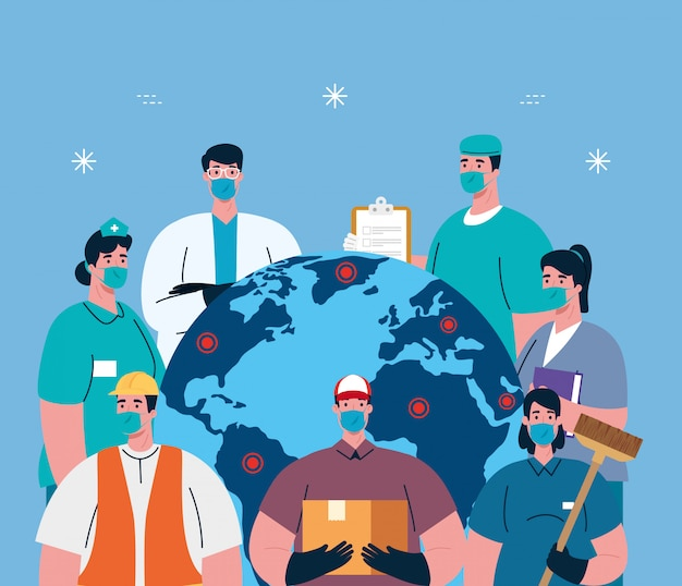 People with uniforms workermasks and world map  of coronavirus  workers theme  illustration
