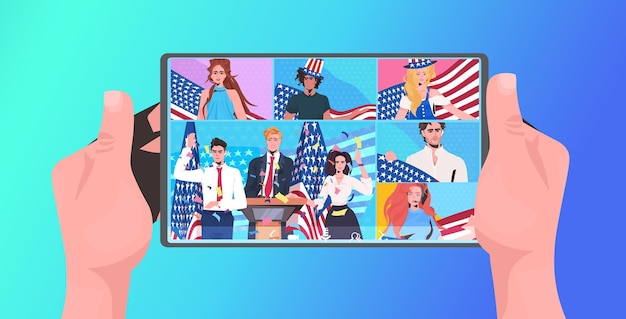 7月アメリカ独立記念日のお祝いオンラインコミュニケーションコンセプトタブレット画面の4日を祝うアメリカの旗を持つ人々