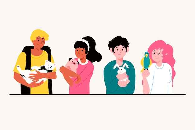 People with variety of pets illustration concept