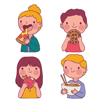 People with various food and drinks