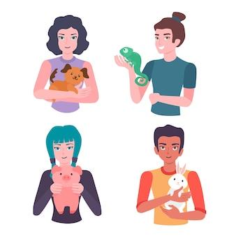 Le persone con vari animali domestici