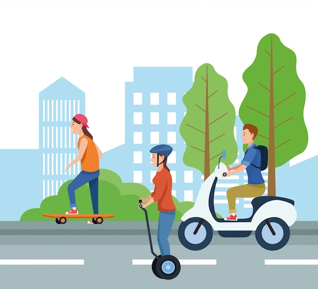 People with vehicles vector design