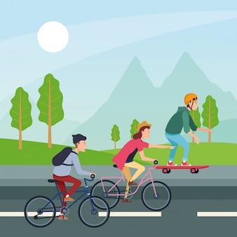 Люди с транспортными средствами векторный дизайн