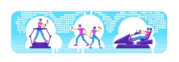 People with vr equipment 2d web banner, poster set. gamer with ar devices flat characters on cartoon background. simulator for entertainment. player with technology colorful scene
