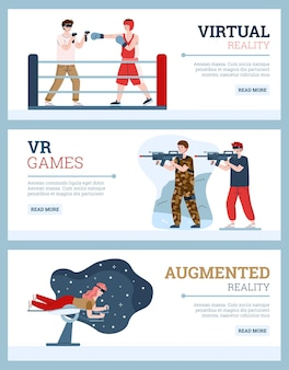 People with vr glasses and headsets playing in game in augmented virtual reality