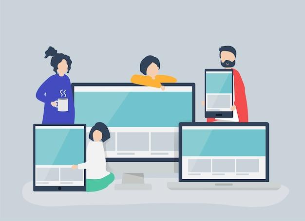 Люди с иллюстрацией концепции веб-дизайна
