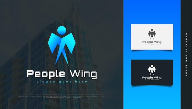 青いグラデーションで翼のロゴを持つ人々。人、コミュニティ、ネットワーク、クリエイティブハブ、グループ、ソーシャルコネクションのロゴまたはビジネスアイデンティティのアイコン