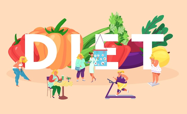 People woman food at diet process illustration