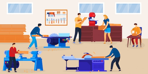 People woodworking  illustration. cartoon flat woodworker character group sawing wood planks, working with circular saw equipment tools in workshop room interior, cutting timberwood background