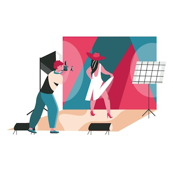 People work as photographers scene concept. man with camera makes photo session of posing model in studio. profession and hobby people activities. vector illustration of characters in flat design