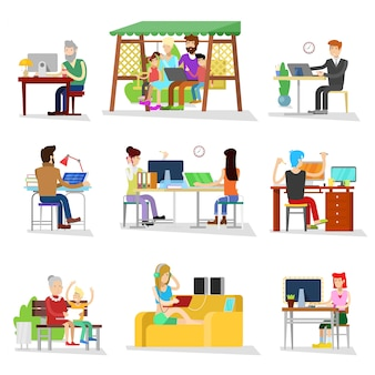 People work  business worker or person working on laptop in office businesswomen worked people on computer with coworker illustration  on white background