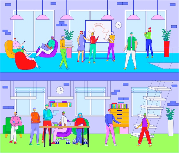 People work in cafe, co working space  illustration. cartoon line business man woman group of characters meeting, working on laptop, brainstorming in modern cozy cafeteria interior. teamwork