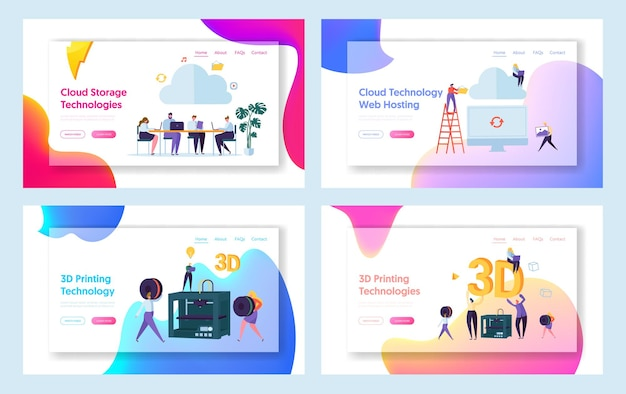 People work in cloud space landing page.