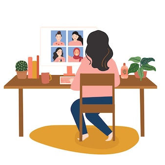 人々はフリーランスで働いています。家にいる、物理的な距離の概念。オンライン会議