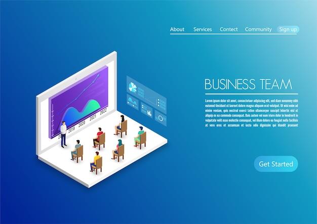 Люди работают в команде и взаимодействуют с графиками. бизнес, управление рабочими процессами и офисные ситуации. использовать для целевой страницы, инфографики и прочего