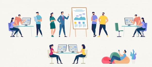 Люди работают в офисе. векторные иллюстрации