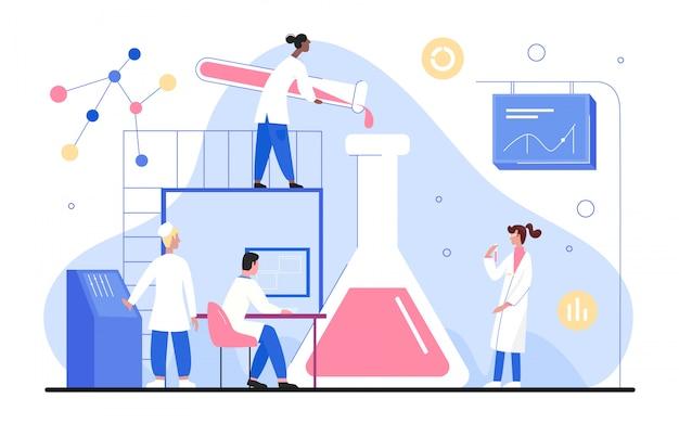 人々は科学実験室の図、漫画の小さな科学者研究者のキャラクターが白の実験室の科学機器での作業で働いています。