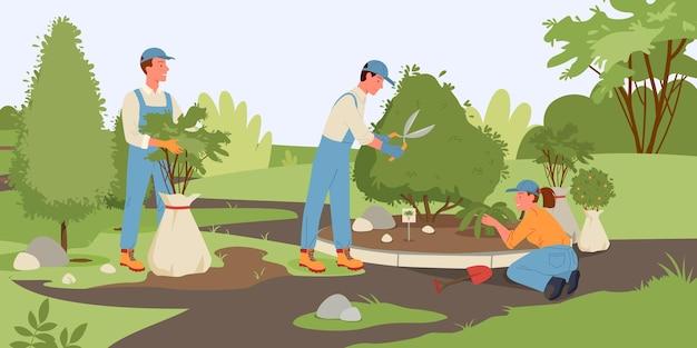 사람들은 여름 숲에서 일하거나 공원 성장 식물 벡터 일러스트 레이 션 만화 젊은 남자 여자