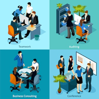 People on work isometric icon set