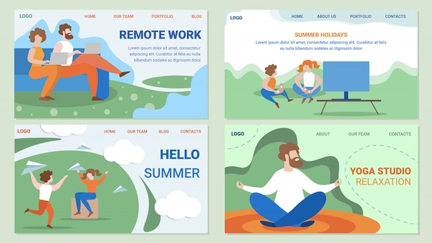 People work and leisure flat   web pages set