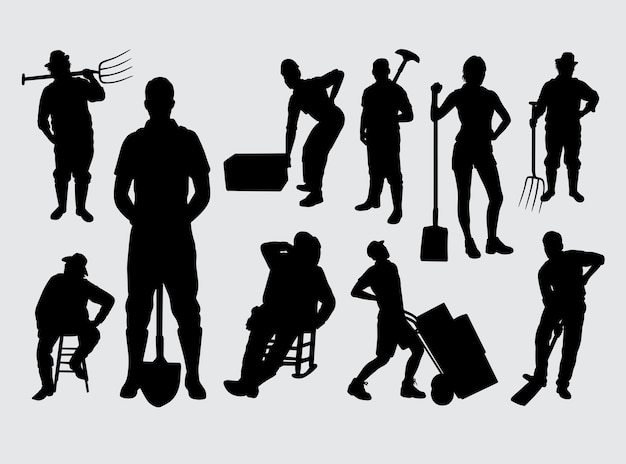 People work male and female silhouette
