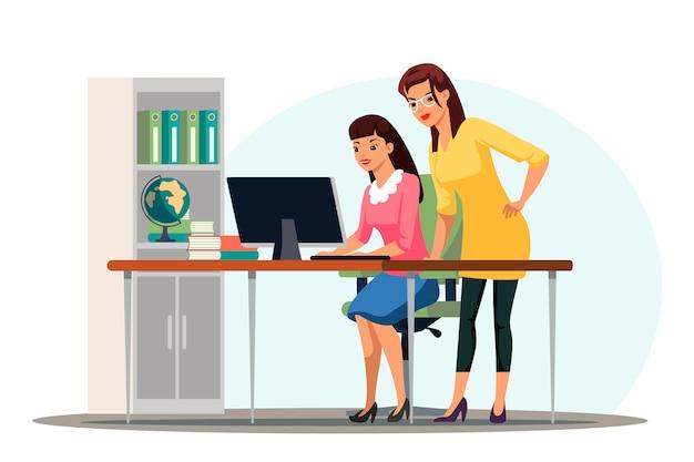 사람들은 사무실 장면을 작동합니다. 동료들은 컴퓨터 화면을 보고 함께 작업을 합니다. 인턴 또는 연수생은 감독자와 함께 일합니다.