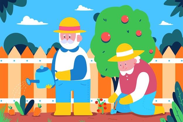 사람들은 정원에서 일합니다. 원예 만화 개념 그림입니다.