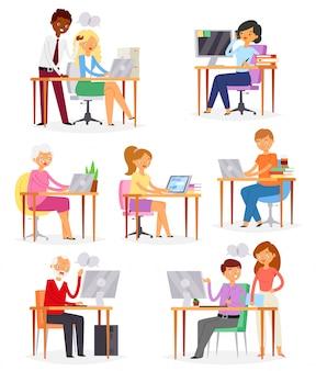 白い背景の上の職場のコンピューターで女性または男性のキャラクターのオフィスイラストセットのテーブルでラップトップに取り組んでいる人の仕事場所ビジネスワーカーまたは人