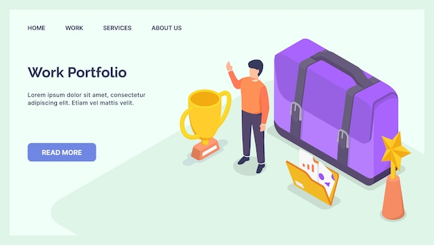 People work portfolio concept for website template landing homepage with modern isometric flat