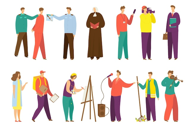 People work set, vector illustration. isolated on white job, person character profession collection. flat policeman with judge person, professional male media worker with camera, courier in uniform.