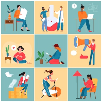 Люди работают, учатся, образ жизни, набор действий, команда ученых, счастливая беременная бизнесвумен