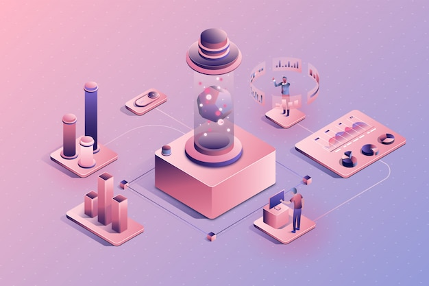 People work in a team and analyzing statistics. data infographic concept. 3d isometric vector illustration.